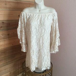 ELAN cream off the shoulder bell sleeve dress